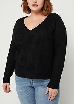Plus Black Boxy Knit Sweater