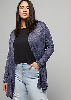 Plus Navy Marled Open Front Hacci Long Length Cardigan