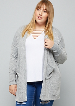 Plus Heather Gray Soft Knit Open Front Cardigan