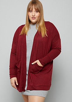 Plus Heather Burgundy Soft Knit Open Front Cardigan