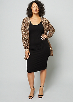 Plus Leopard Print Soft Knit Open Front Cardigan