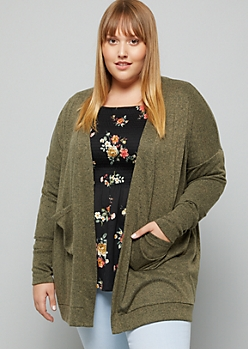 Plus Heather Olive Soft Knit Open Front Cardigan