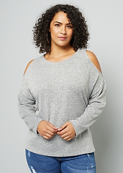 Plus Heather Gray Soft Knit Cold Shoulder Sweater