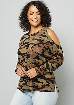 Plus Camo Print Soft Knit Cold Shoulder Sweater