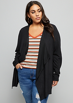 Plus Black Drapey Front Cardigan