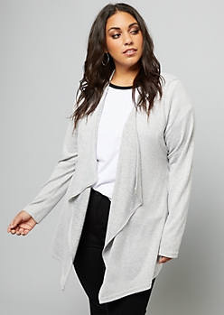 Plus Heather Gray Drapey Front Cardigan