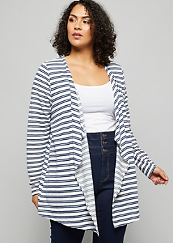 Plus Blue Striped Drapey Front Cardigan