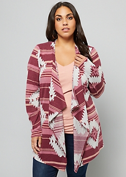 Plus Pink Ikat Drapey Front Cardigan