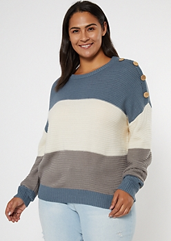 Plus Blue Colorblock Button Dolman Sleeve Sweater
