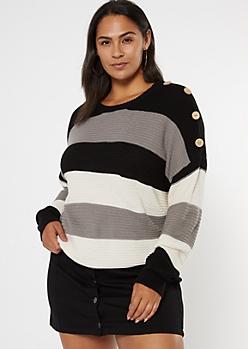 Plus Black Colorblock Button Dolman Sleeve Sweater