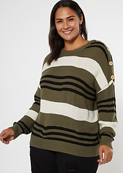 Plus Olive Colorblock Button Dolman Sleeve Sweater