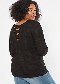 Plus Black Lattice Back Sweater Tunic