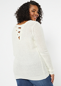 Plus Ivory Lattice Back Sweater Tunic