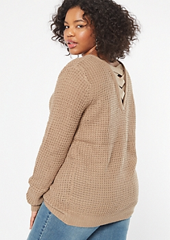 Plus Khaki Lattice Back Sweater Tunic