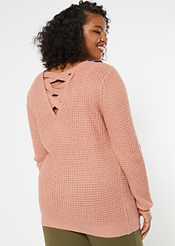 Plus Pink Lattice Back Sweater Tunic