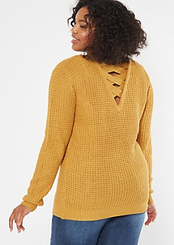 Plus Mustard Lattice Back Sweater Tunic