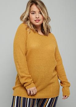 Plus Mustard Rolled Neck Raglan Sweater