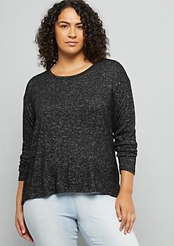 Plus Black Hacci Knit Drop Shoulder High Low Top