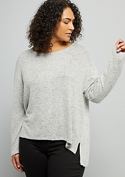Plus Gray Marled High Low Hacci Sweater