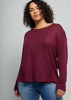 Plus Burgundy Hacci Knit Drop Shoulder High Low Top