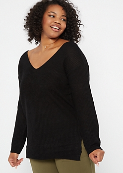 Plus Black Long Lattice Back Sweater Tunic