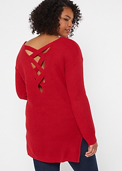 Plus Red Long Lattice Back Sweater Tunic