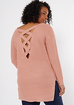 Plus Pink Long Lattice Back Sweater Tunic