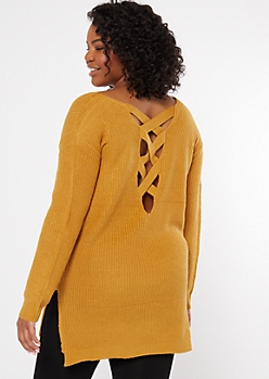 Plus Mustard Long Lattice Back Sweater Tunic