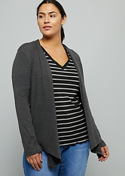 Plus Gray Tapered Long Sleeve Cardigan