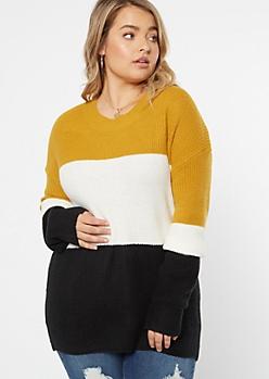 Plus Mustard Striped Scoop Neck Sweater