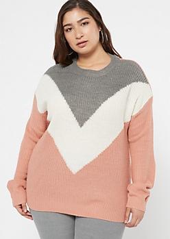 Plus Pink Waffle Knit Chevron Sweater