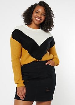 Plus Mustard Waffle Knit Chevron Sweater
