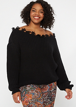 Plus Black Distressed Slouchy Sweater