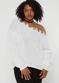 Plus White Distressed Slouchy Sweater