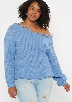 Plus Blue Distressed Slouchy Sweater
