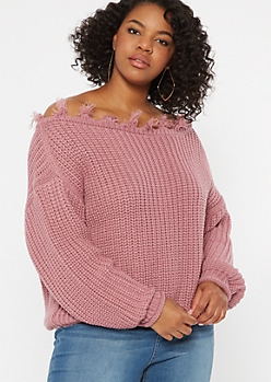 Plus Pink Distressed Slouchy Sweater
