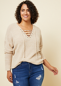 Plus Heather Oatmeal V Neck Lace Up Sweater