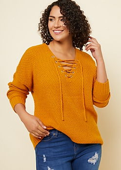 Plus Dark Yellow V Neck Lace Up Sweater