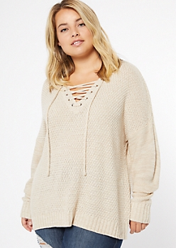 Plus Oatmeal Drop Sleeve Lace Up V Neck Sweater
