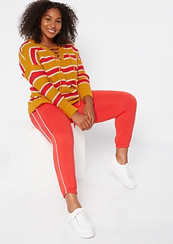 Plus Mustard Striped Drop Sleeve Lace Up V Neck Sweater