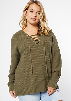 Plus Olive Drop Sleeve Lace Up V Neck Sweater