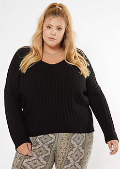 Plus Black Dolman Sleeve Slouchy Sweater