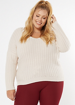 Plus Cream Dolman Sleeve Slouchy Sweater