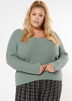 Plus Light Green Dolman Sleeve Slouchy Sweater