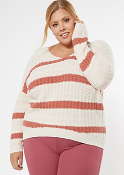 Plus Pink Striped Dolman Sleeve Slouchy Sweater