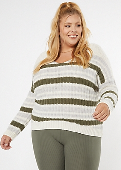 Plus Olive Striped Dolman Sleeve Slouchy Sweater