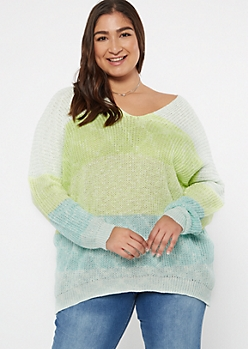 Plus Blue Striped Drop Sleeve On-Off Shoulder Sweater