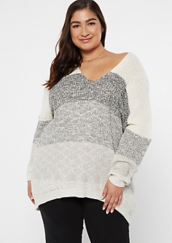 Plus Black Striped Drop Sleeve On-Off Shoulder Sweater