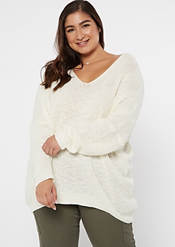 Plus Ivory Drop Sleeve On-Off Shoulder Sweater