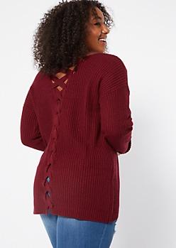 Plus Burgundy V Neck Lace Up Back Sweater